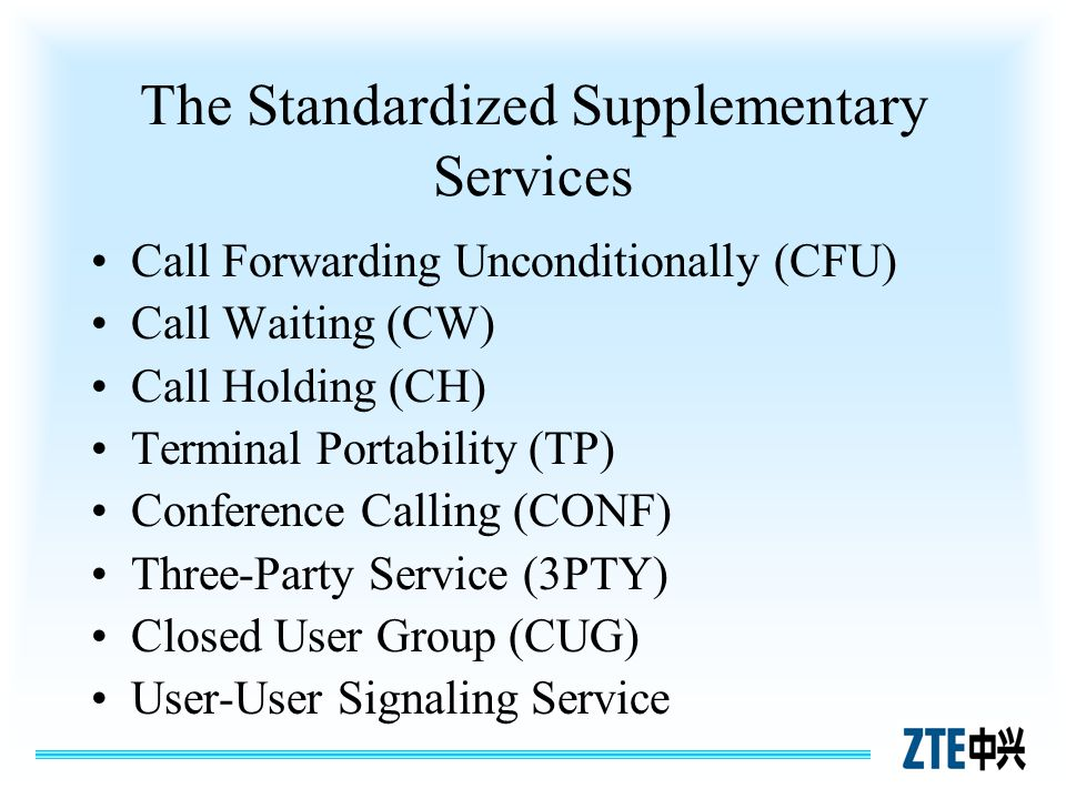 The Standardized Supplementary Services