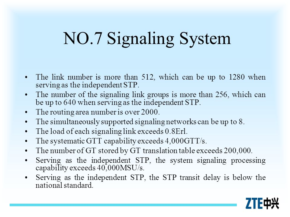 NO.7 Signaling System The link number is more than 512, which can be up to 1280 when serving as the independent STP.