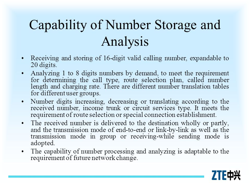 Capability of Number Storage and Analysis