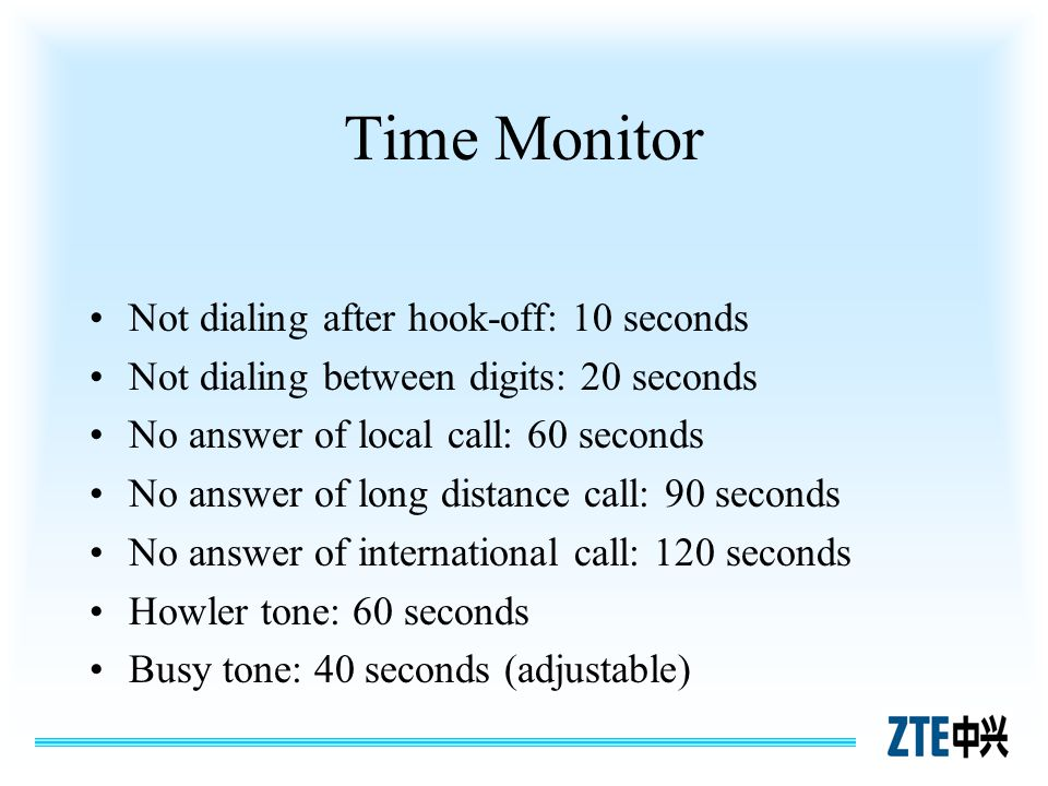 Time Monitor Not dialing after hook-off: 10 seconds