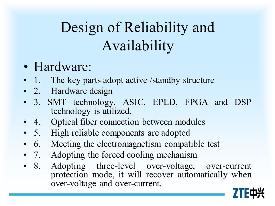 Design of Reliability and Availability