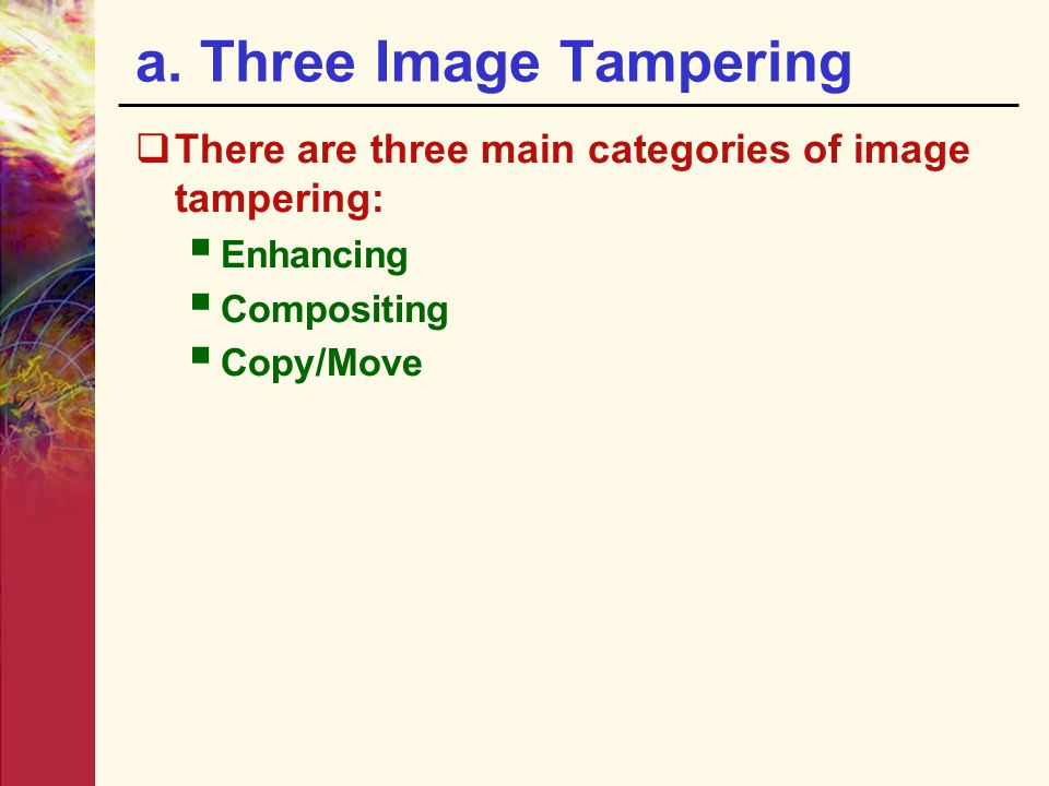a. Three Image Tampering
