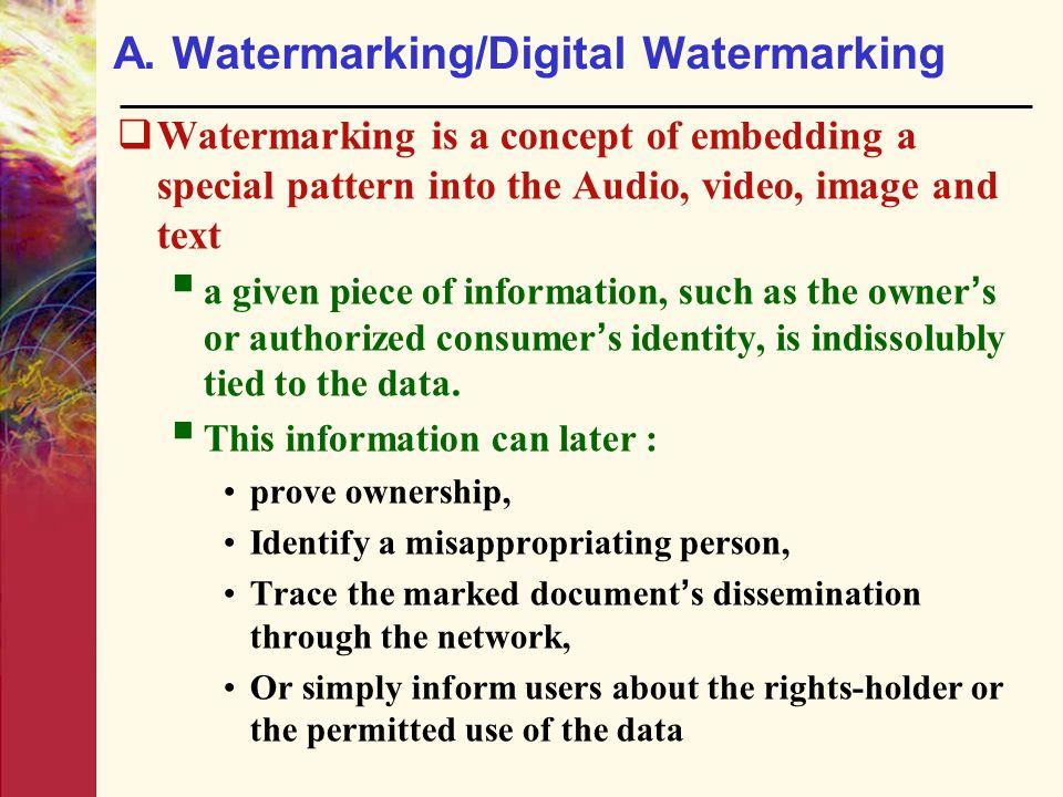 A. Watermarking/Digital Watermarking