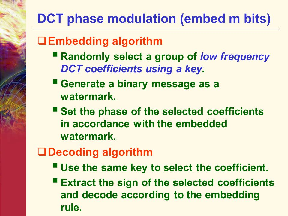DCT phase modulation (embed m bits)