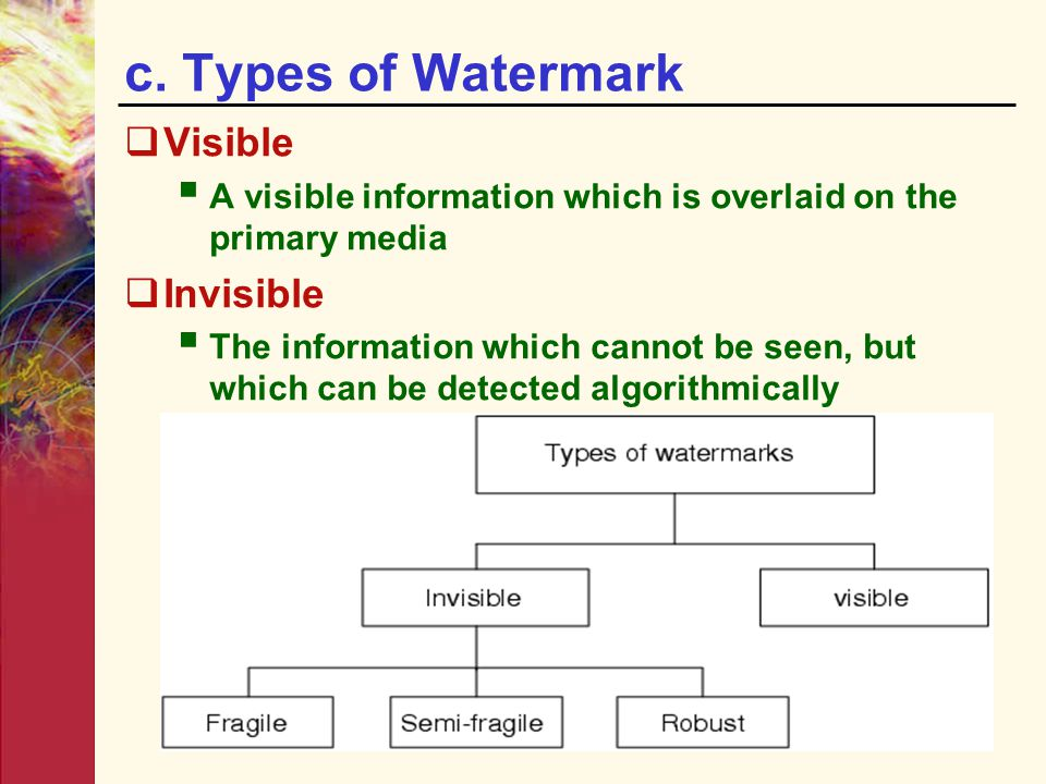 c. Types of Watermark Visible Invisible