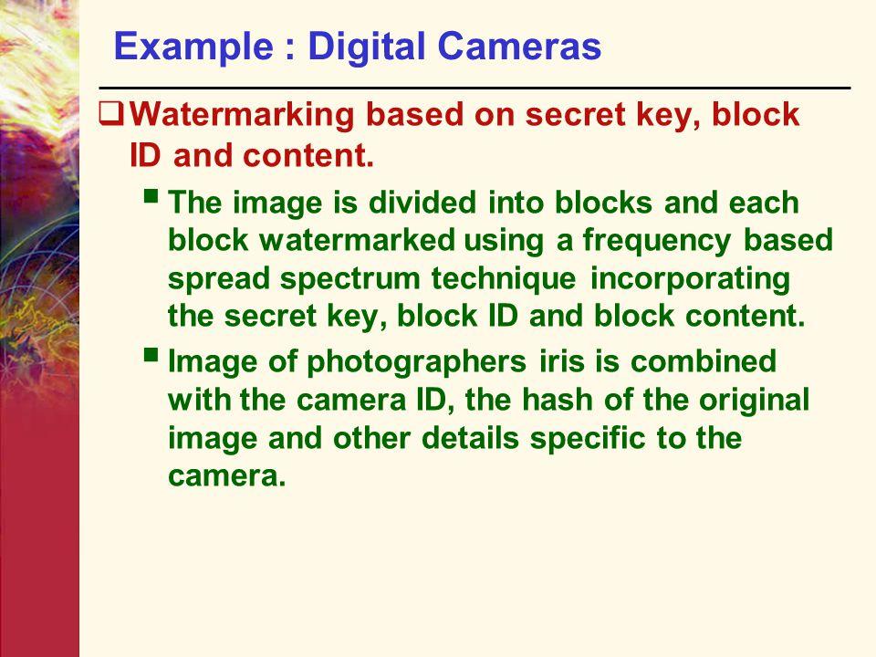 Example : Digital Cameras