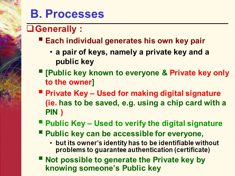 B. Processes Generally : Each individual generates his own key pair