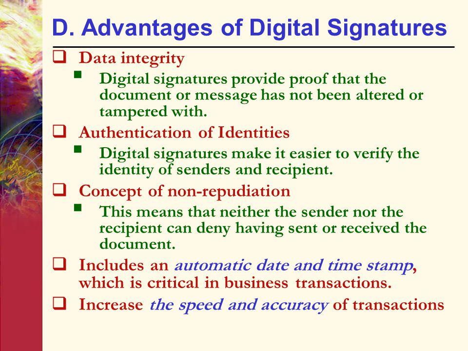 D. Advantages of Digital Signatures