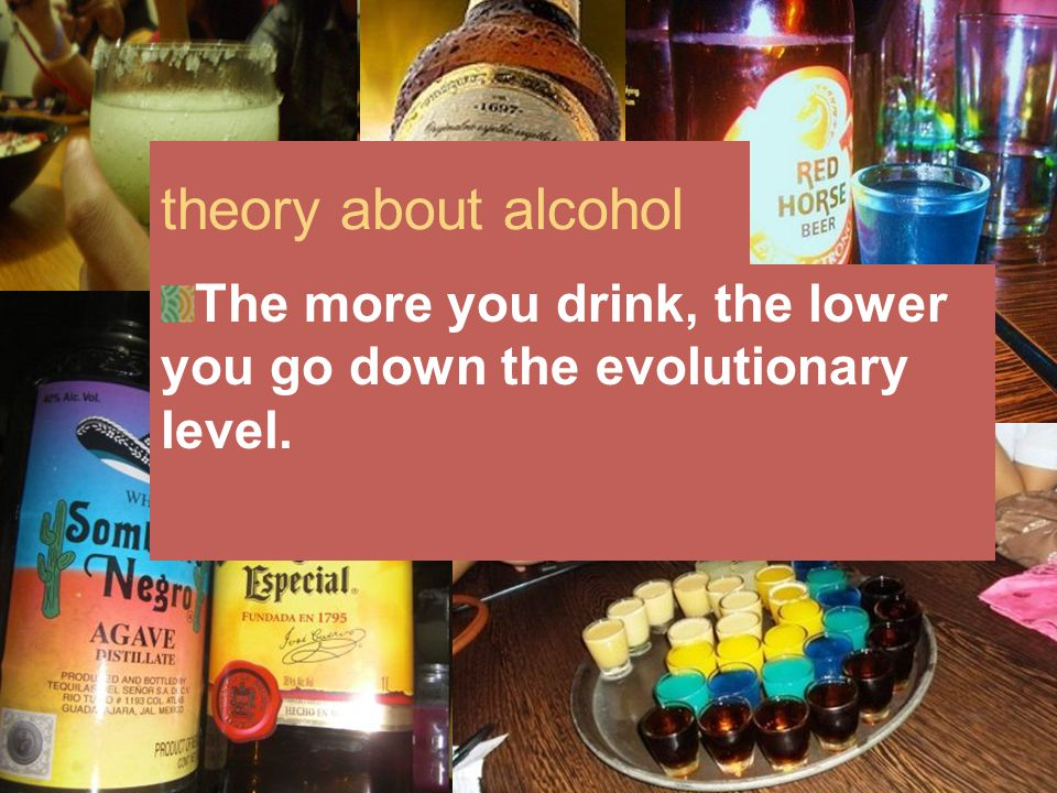 theory about alcohol The more you drink, the lower you go down the evolutionary level.
