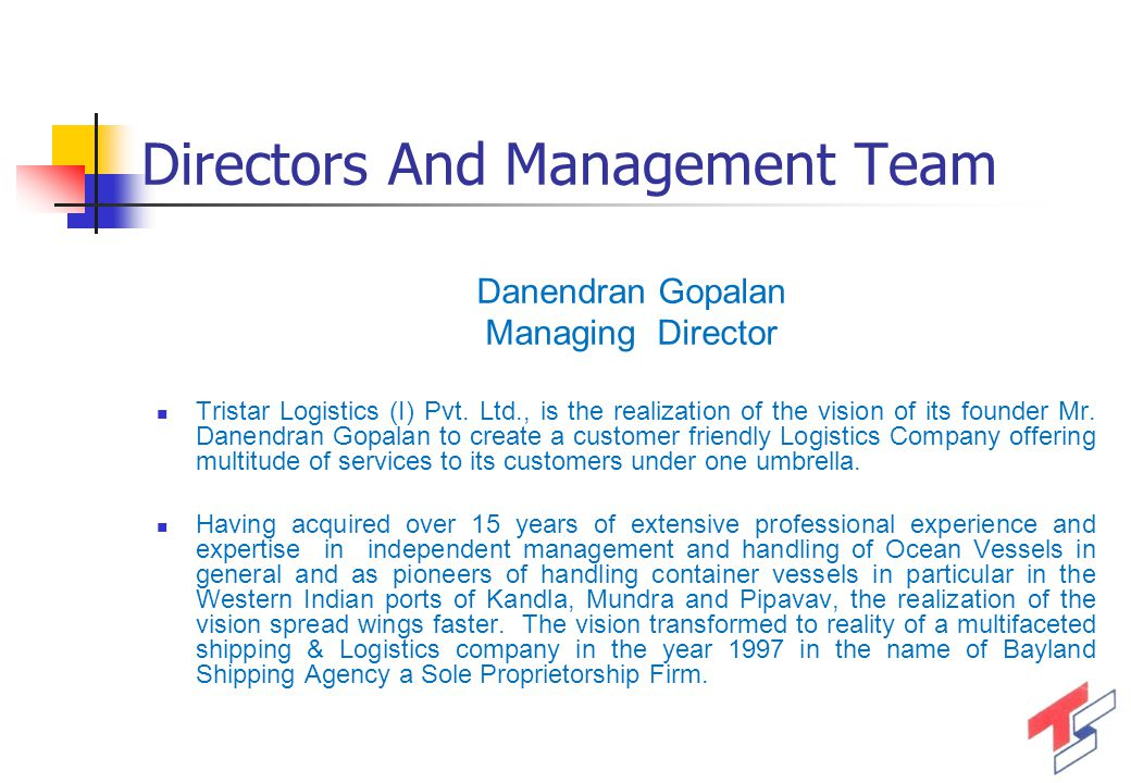 Directors And Management Team