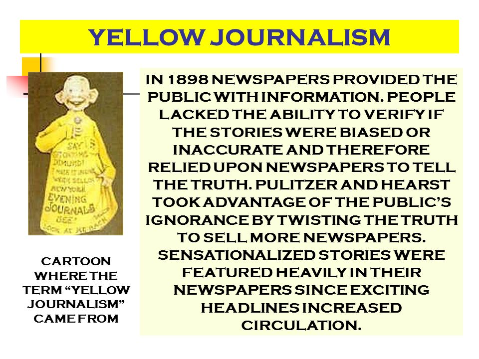 CARTOON WHERE THE TERM YELLOW JOURNALISM CAME FROM