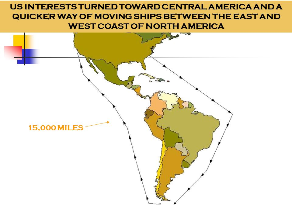US INTERESTS TURNED TOWARD CENTRAL AMERICA AND A QUICKER WAY OF MOVING SHIPS BETWEEN THE EAST AND WEST COAST OF NORTH AMERICA