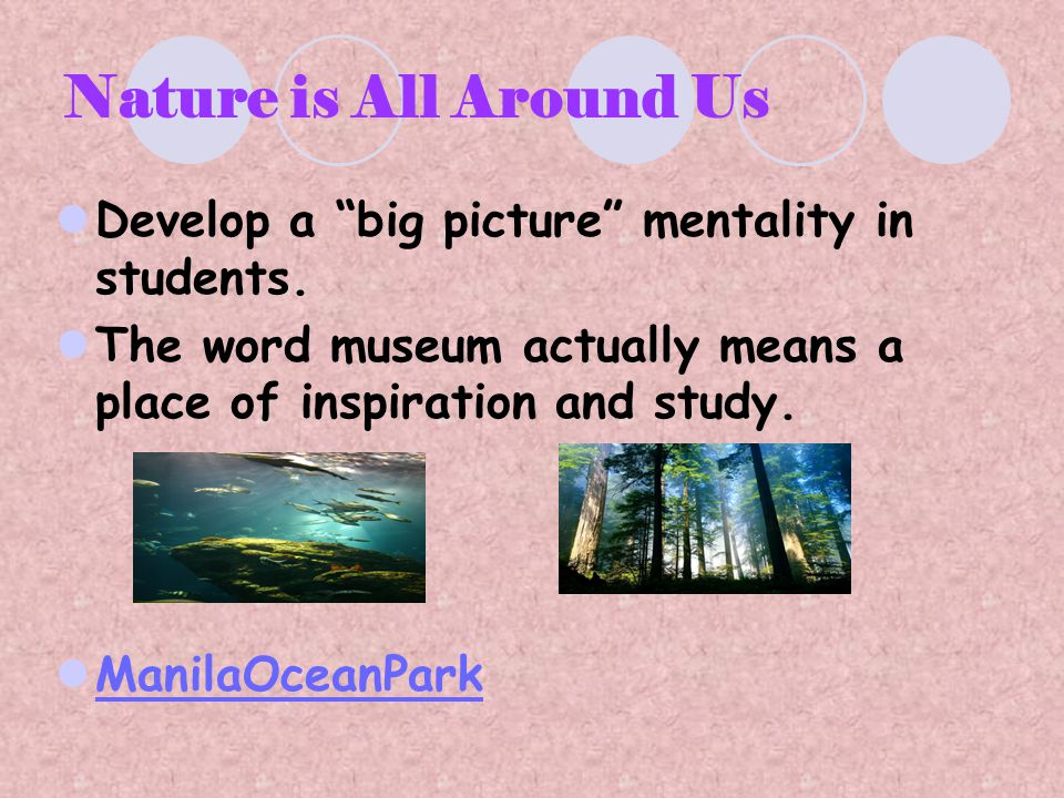 Nature is All Around Us Develop a big picture mentality in students.