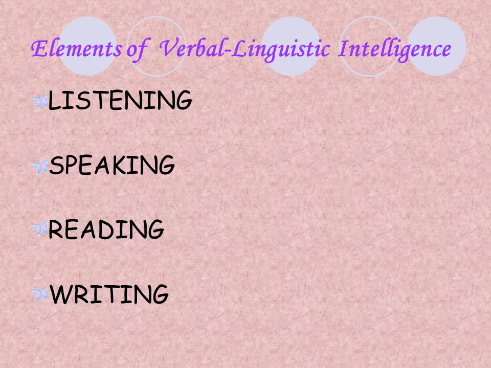 Elements of Verbal-Linguistic Intelligence
