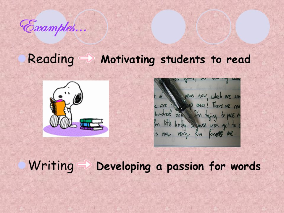 Examples… Reading Motivating students to read