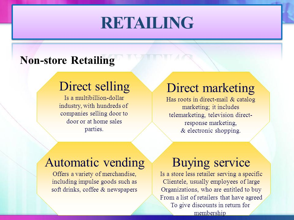 RETAILING Direct selling Direct marketing Automatic vending