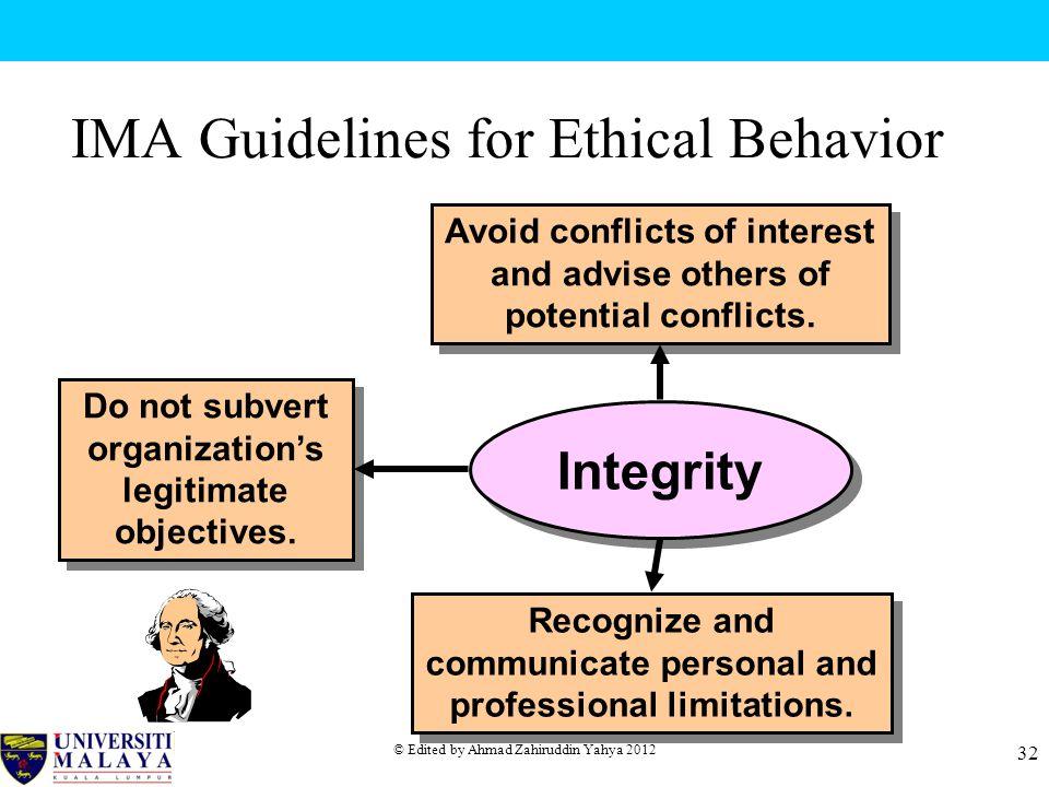 IMA Guidelines for Ethical Behavior