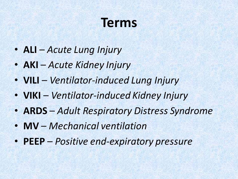 Terms ALI – Acute Lung Injury AKI – Acute Kidney Injury