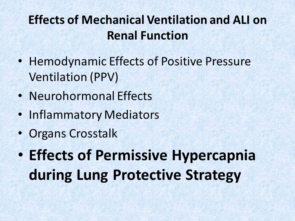 Effects of Mechanical Ventilation and ALI on Renal Function