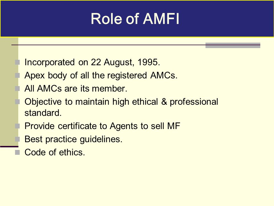 Role of AMFI Incorporated on 22 August, 1995.