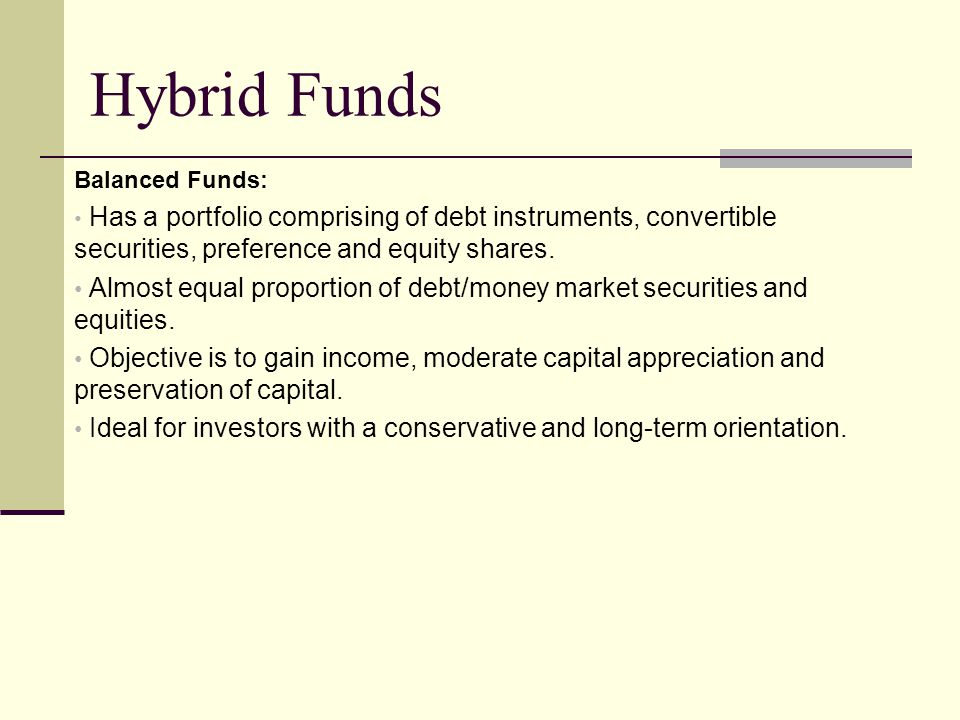 Hybrid Funds Balanced Funds: Has a portfolio comprising of debt instruments, convertible securities, preference and equity shares.