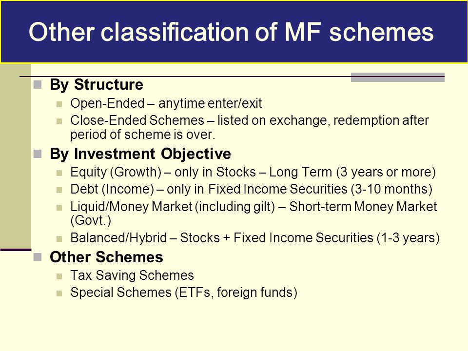 Other classification of MF schemes