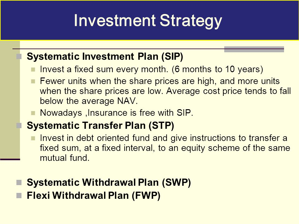 Investment Strategy Systematic Investment Plan (SIP)