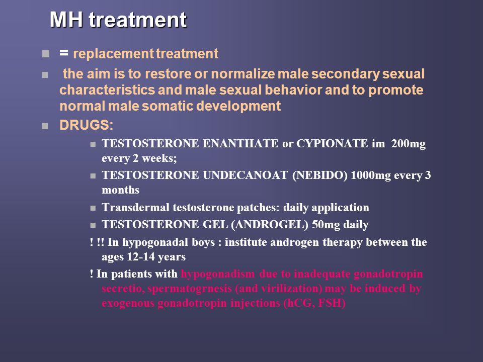 MH treatment = replacement treatment
