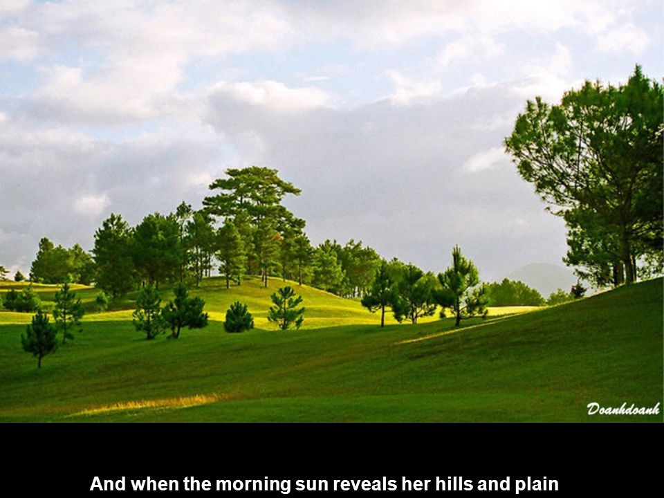 And when the morning sun reveals her hills and plain