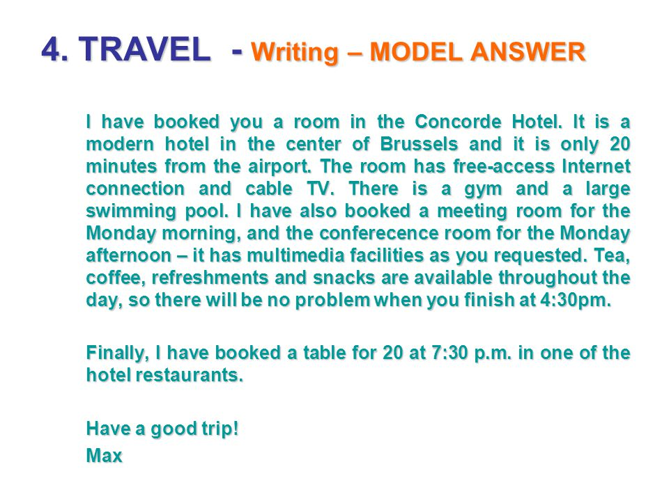 4. TRAVEL - Writing – MODEL ANSWER