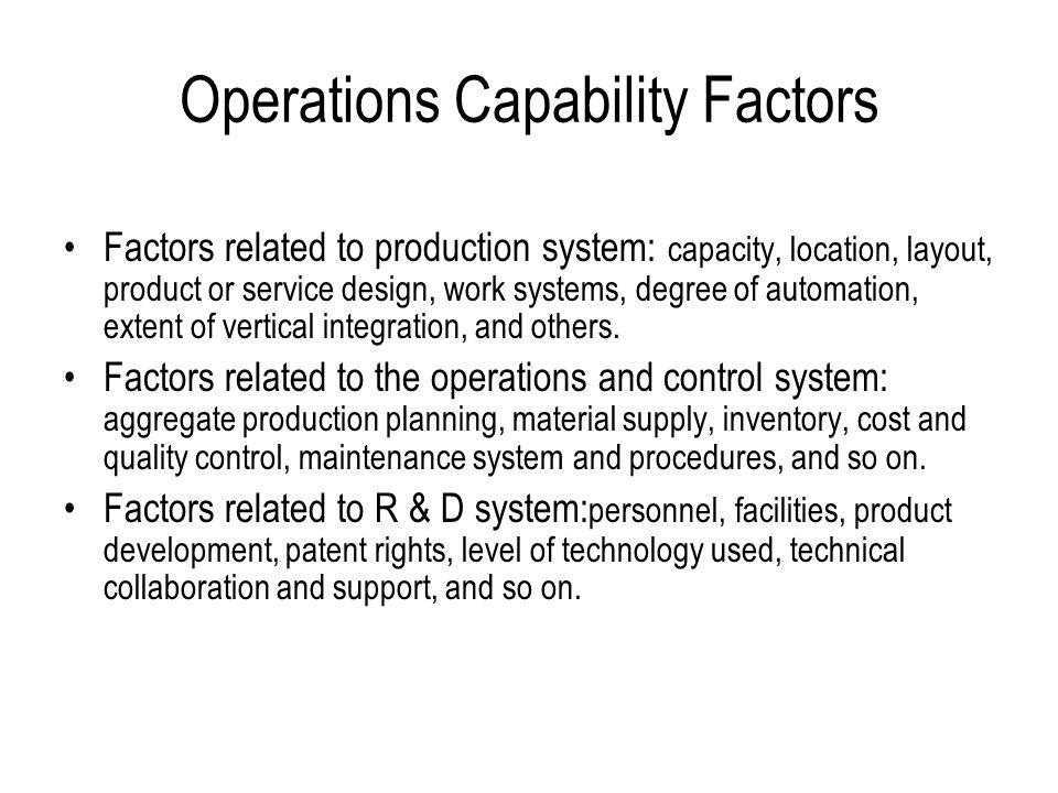 Operations Capability Factors