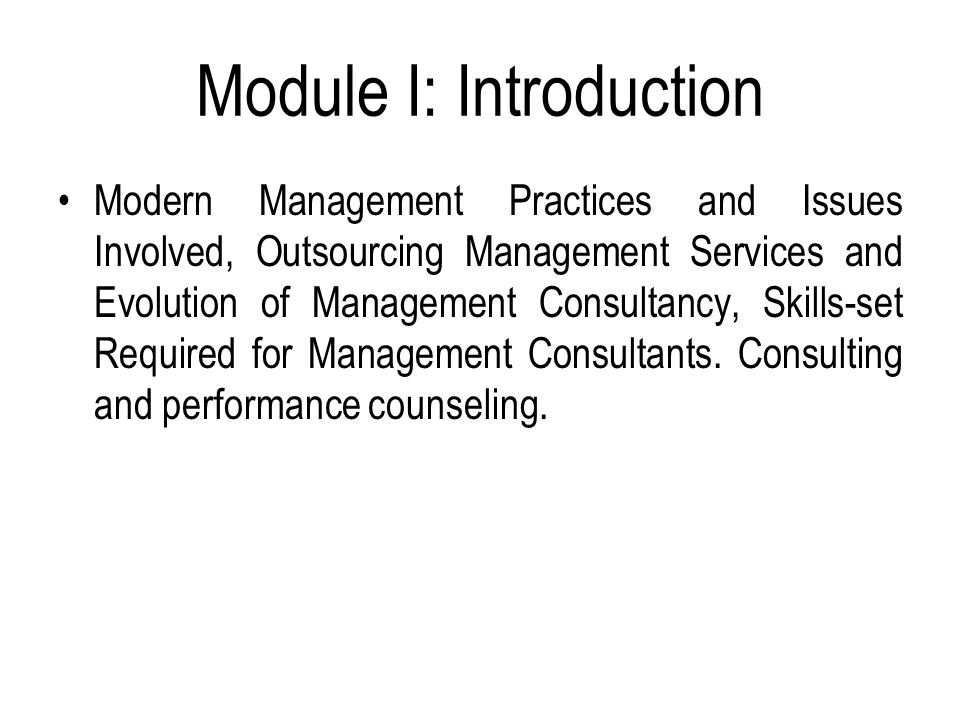 introduction to modern management