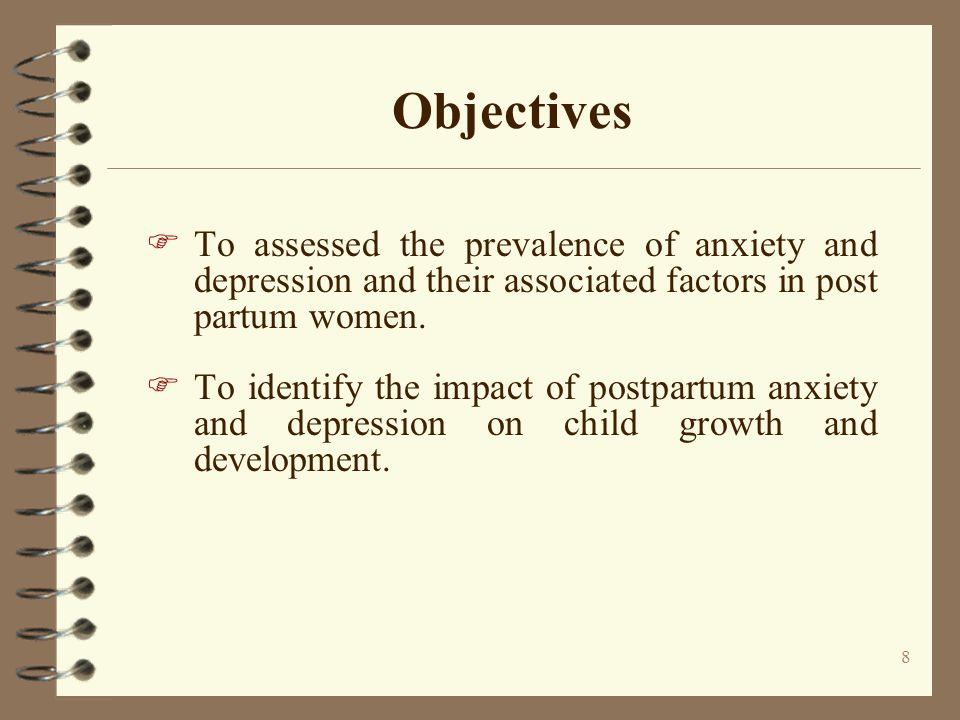 Objectives To assessed the prevalence of anxiety and depression and their associated factors in post partum women.