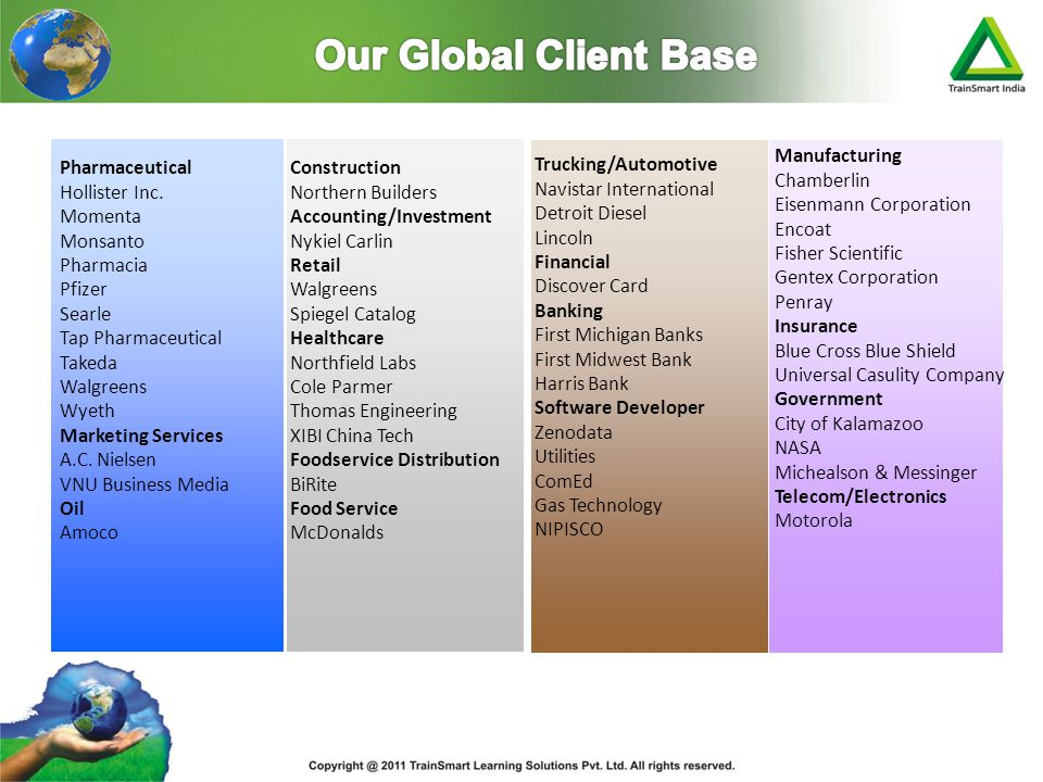 Our Global Client Base Manufacturing Chamberlin Eisenmann Corporation