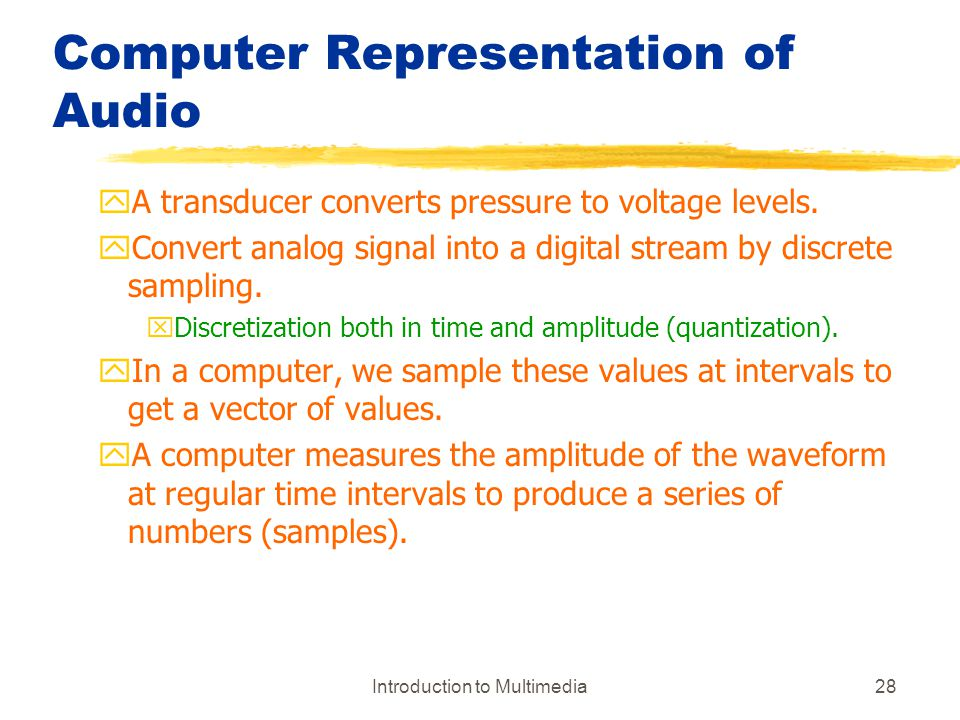 Computer Representation of Audio
