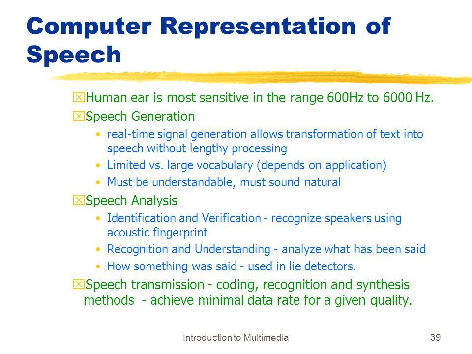 Computer Representation of Speech