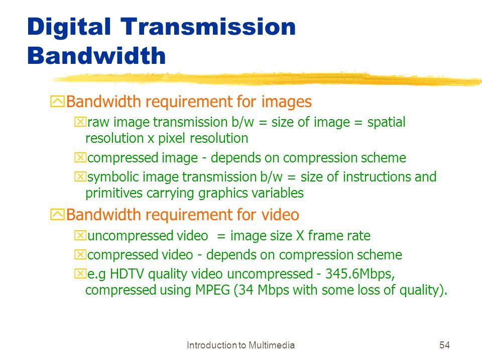 Digital Transmission Bandwidth