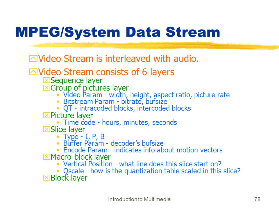MPEG/System Data Stream