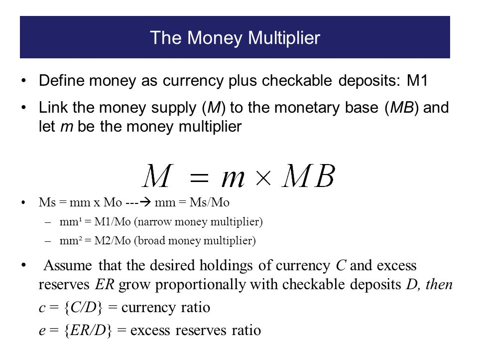 The Money Multiplier Define money as currency plus checkable deposits: M1.