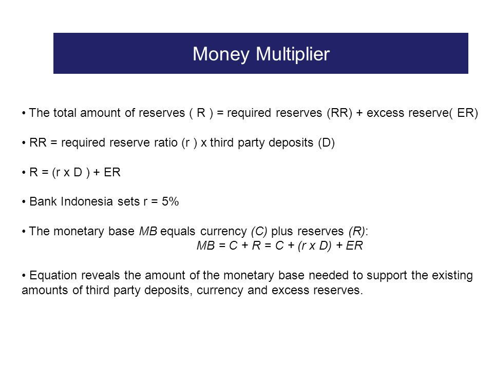 Money Multiplier The total amount of reserves ( R ) = required reserves (RR) + excess reserve( ER)