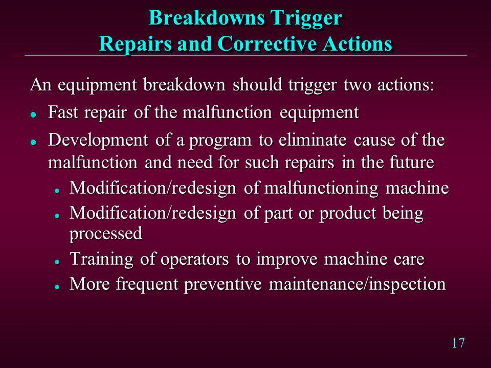 Breakdowns Trigger Repairs and Corrective Actions