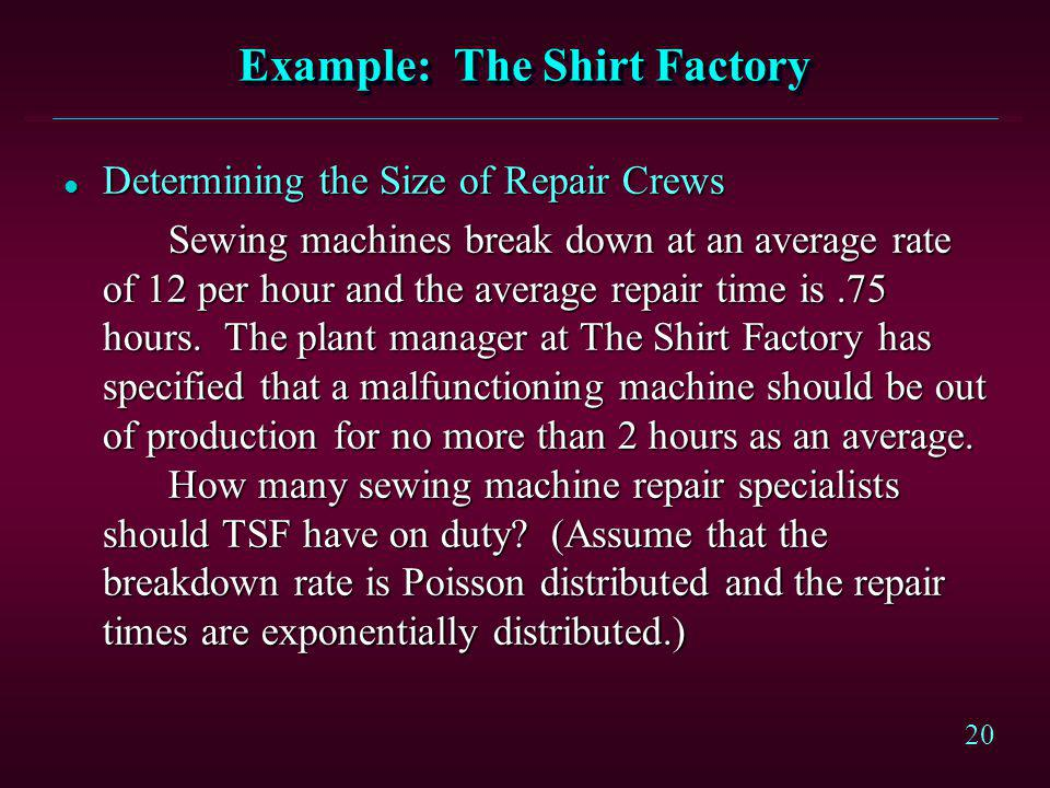 Example: The Shirt Factory