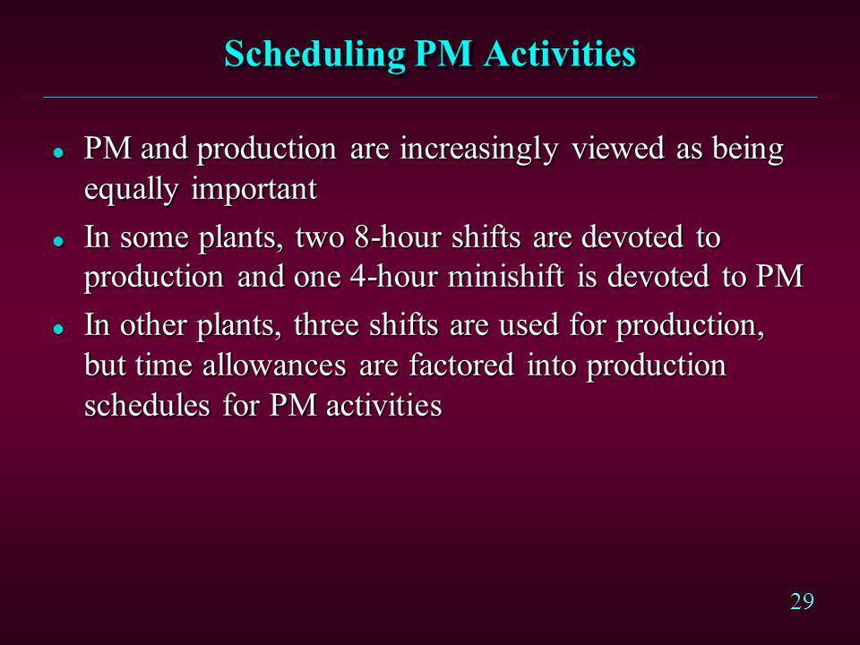 Scheduling PM Activities