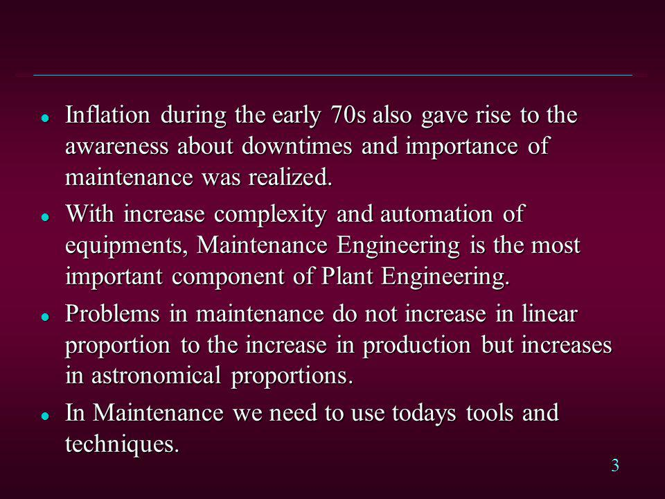 Inflation during the early 70s also gave rise to the awareness about downtimes and importance of maintenance was realized.