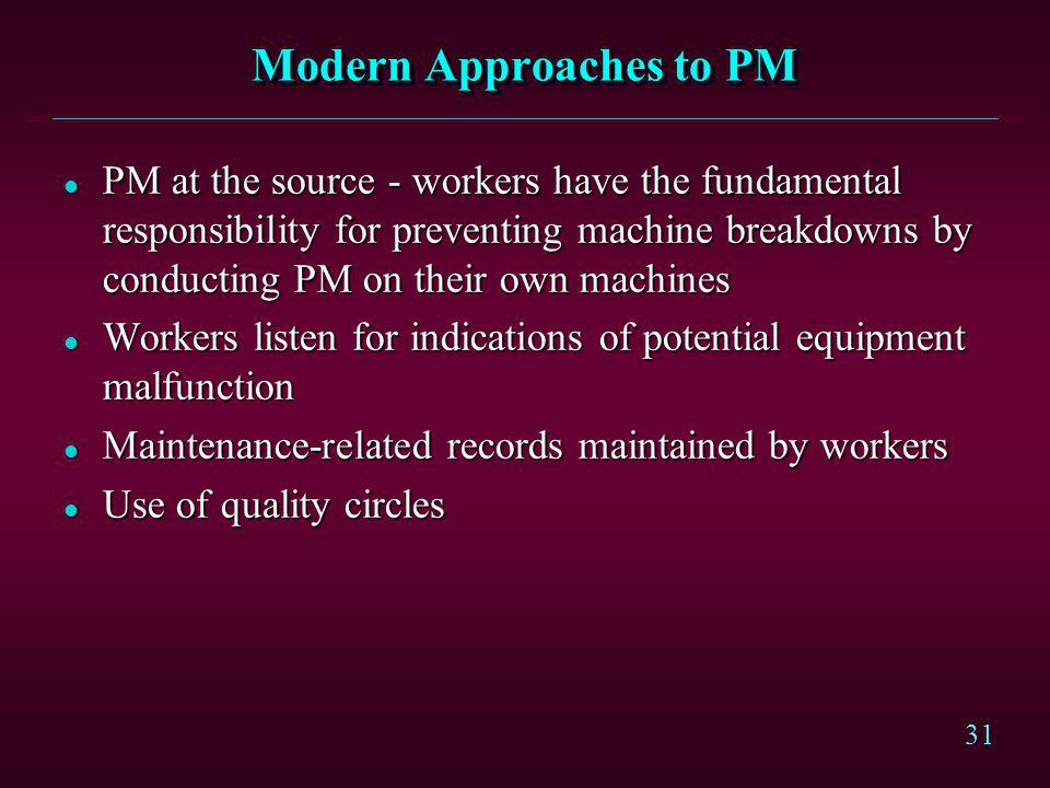 Modern Approaches to PM