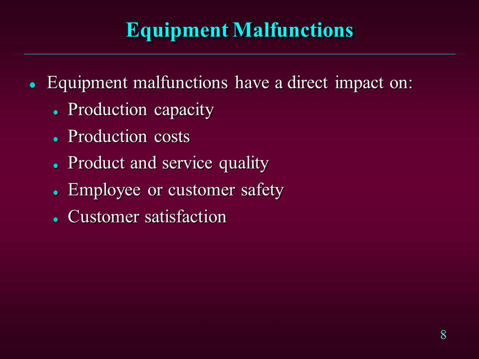 Equipment Malfunctions