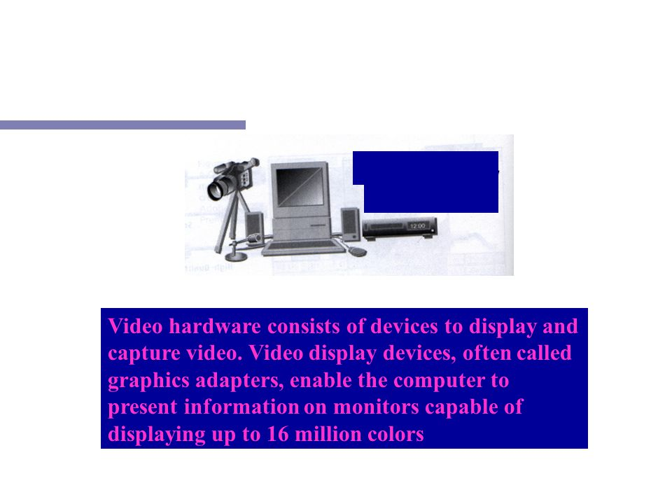 Video hardware consists of devices to display and capture video