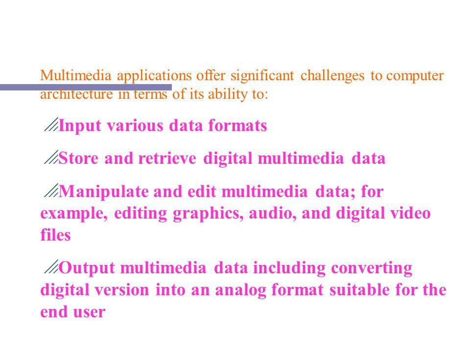 Input various data formats Store and retrieve digital multimedia data