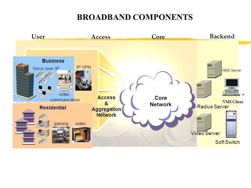 BROADBAND COMPONENTS User Access Core Backend Core Network Business