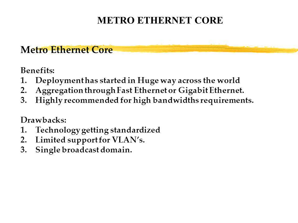 METRO ETHERNET CORE Metro Ethernet Core Benefits: